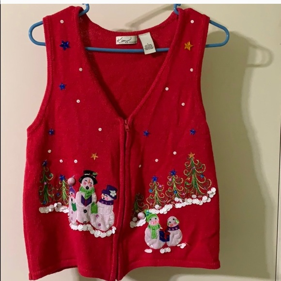 Vintage 1980s Kim Rogers Christmas Sweater with Ivy